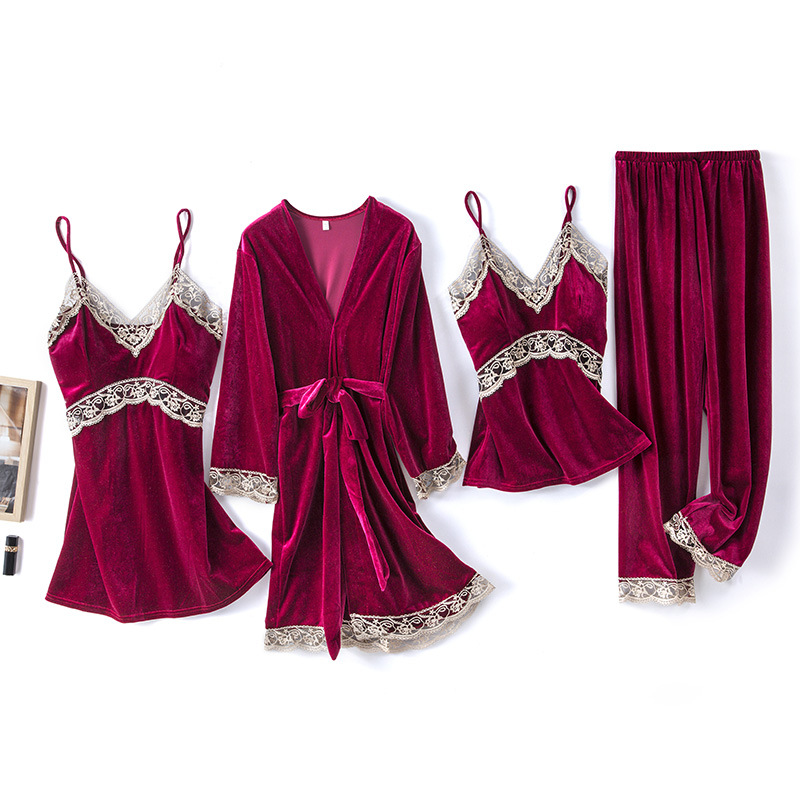 2020 Gold Velvet 4 Pieces and 5 Pieces Warm Winter Pajamas Sets Women Sexy Lace Robe Pajamas Sleepwear Kit Sleeveless Nightwear 14