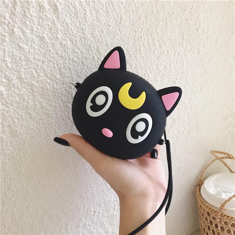 Anime Luna Cat Coin Purse Soft Silicone Cartoon Mini Money Key Pouch Crossbody Multifunctional Trending Travel Round Makeup Bag