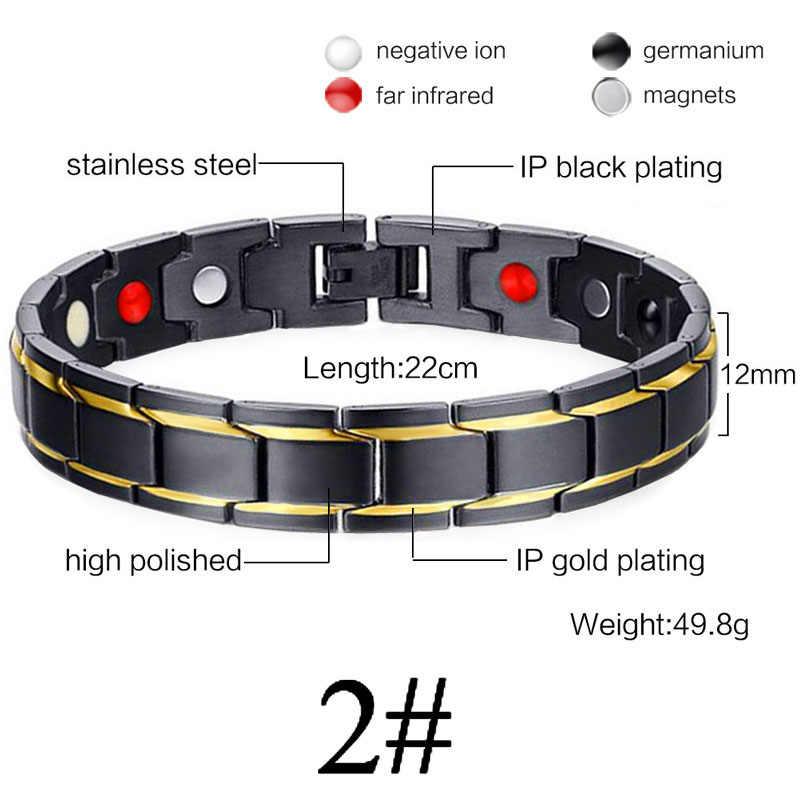 Bracelet magnétique de Germanium de soins de santé d'hommes de femmes pour l'arthrite et le canal carpien 316L bracelets de thérapie de puissance d'acier inoxydable