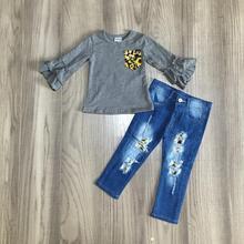Dziewczynka ubrania dziewczyny jesień/jesień stroje szary top z spodnie jeansowe butikowa odzież dla dziewczynek