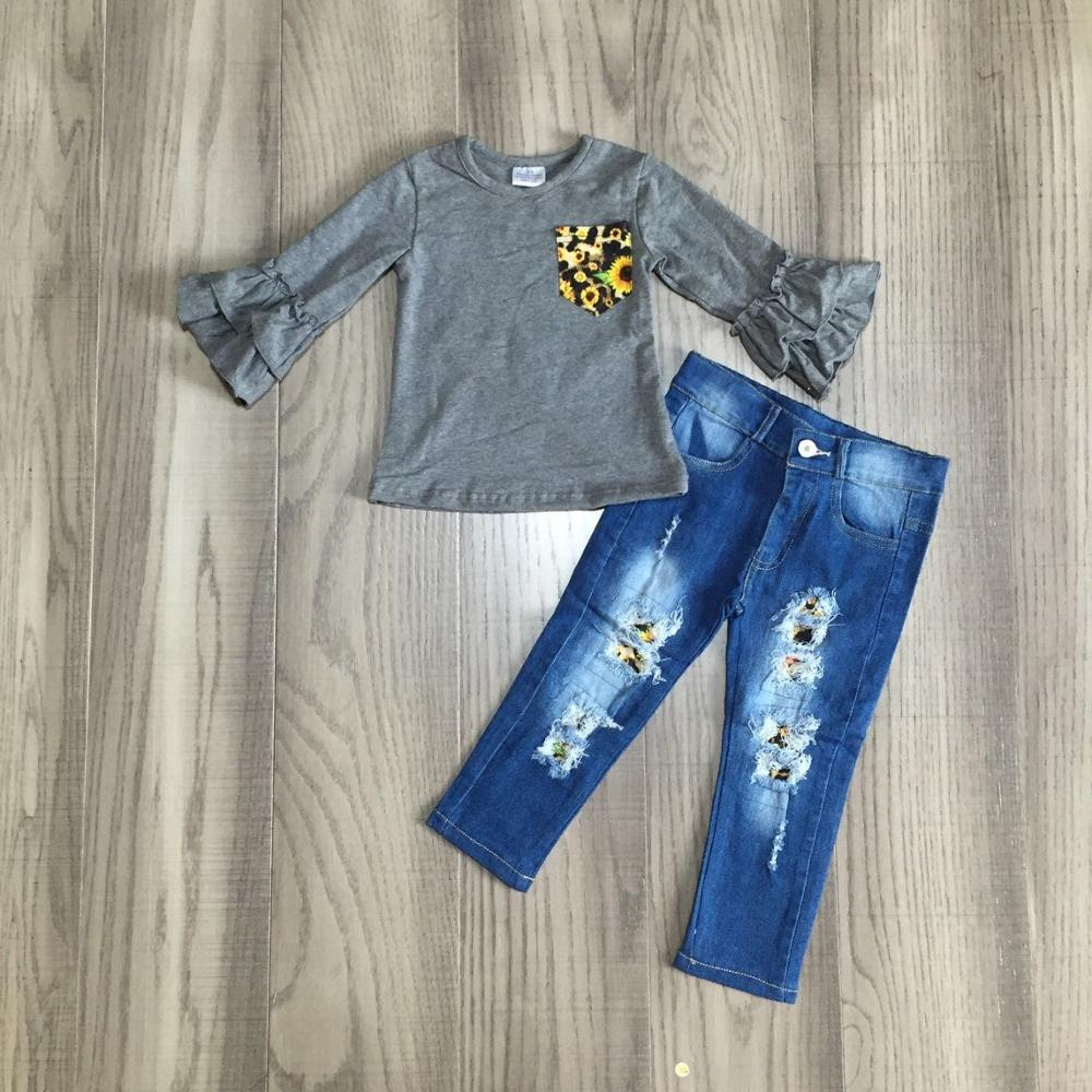 baby Girl clothes girls fall/autumn outfits grey top with jeans pants girls boutique clothes-in Clothing Sets from Mother & Kids