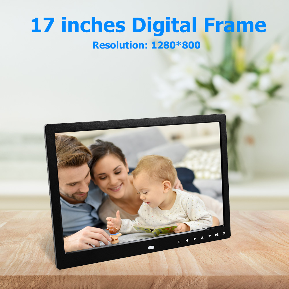 17-inch Screen Digital Photo Frame HD 1440x900 Full Touch Button Picture Music Video Player Electronic Album Alarm Clock Frame