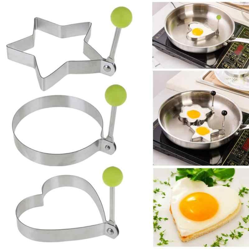 Ovos de aço inoxidável criativo cozinhar omelete ovo fritura molde amor estrela redonda molde dispositivo aço inoxidável fritar ovo cozinha g