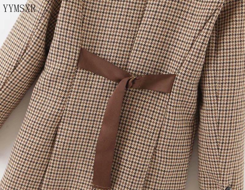 Autumn and winter jacket feminine 2020 Loose Single-breasted Plaid Mid-length Women's Blazer Retro Female Small suit coat women