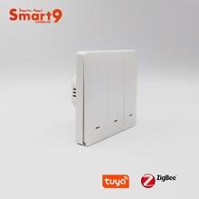 Commutateur mural Smart9 ZigBee fonctionnant avec le Hub TuYa ZigBee, conception de bouton poussoir avec le contrôle intelligent dapplication de vie, actionné par TuYa