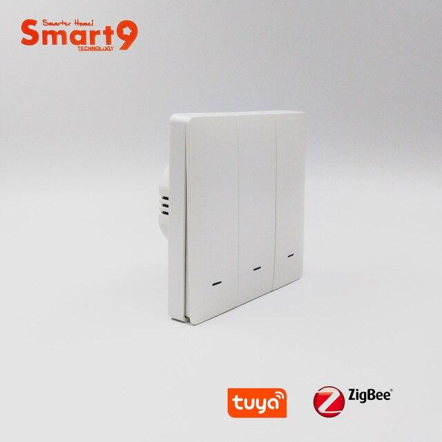 Tuya zigbee 허브와 함께 작동하는 smart9 zigbee 벽 스위치, smart life app 컨트롤이있는 버튼 디자인, tuya에 의해 구동