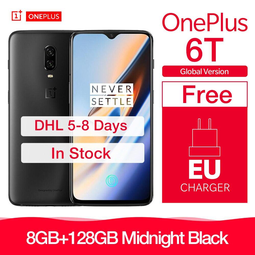 OnePlus 6T 6 T Global Version 8 GB 128GB ROM Unlock Smartphone 16 + 20MP Dual Camera 6.41 Inch Display Snapdragon 845 Octa Core