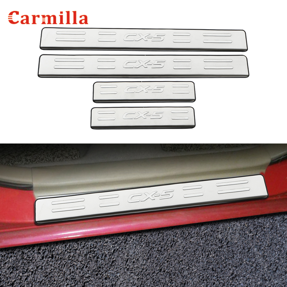 Carmilla 4Pcs/Set Stainless Steel Car <font><b>Door</b></font> <font><b>Sill</b></font> <font><b>Scuff</b></font> <font><b>Plate</b></font> Cover Fit for <font><b>Mazda</b></font> <font><b>CX</b></font>-<font><b>5</b></font> CX5 <font><b>CX</b></font> <font><b>5</b></font> 2013 - <font><b>2019</b></font> Accessories image
