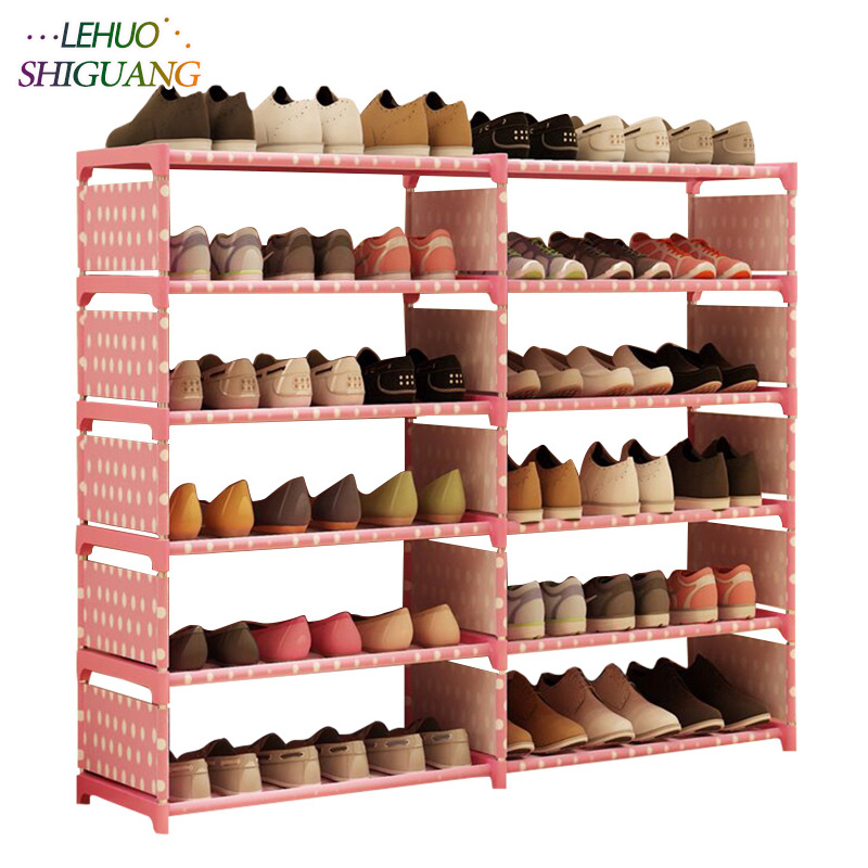5 Layers 10 Grid Shoe Rack Non-woven Fabric Assembly Shoe Cabinet Home Living Room Furniture Shoes Organizer Storage Cabinet