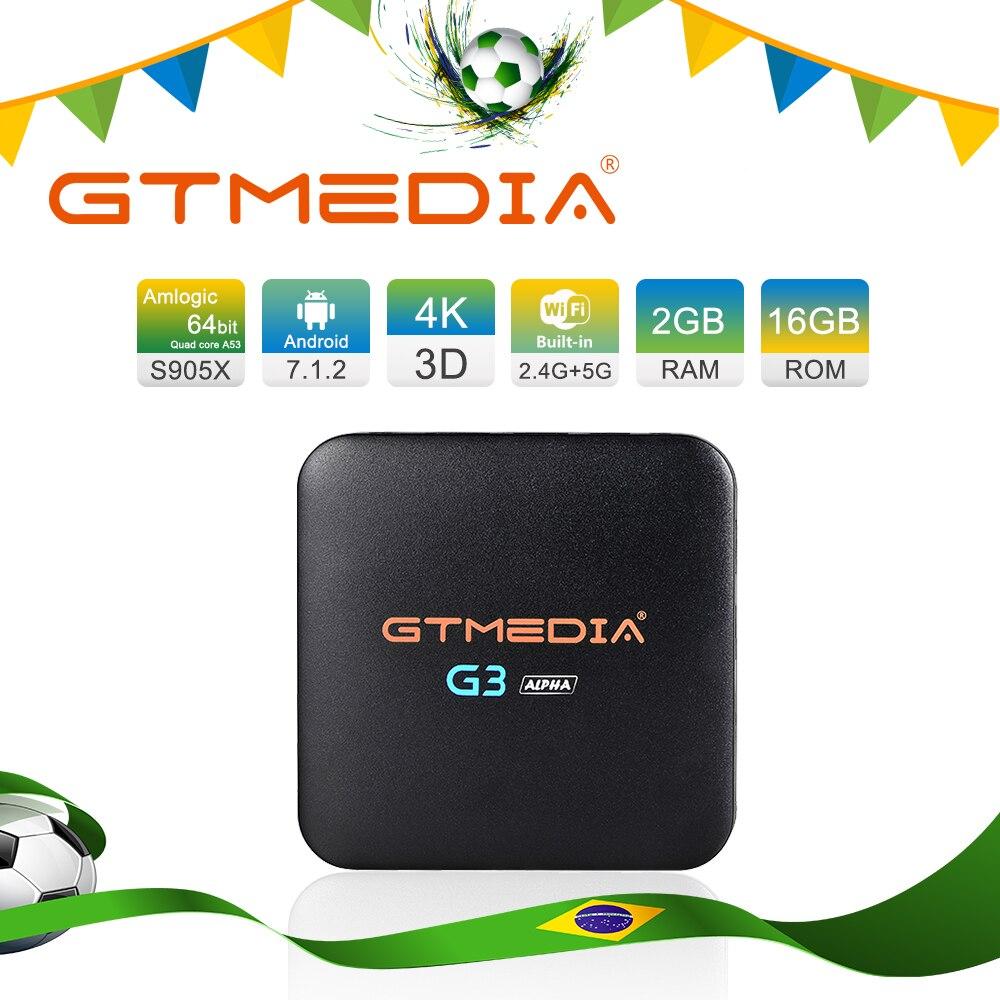 Brazil GTMEDIA G3A Android TV BOX 2GB 16GB Set Top Box 4K Ultra BT4.0 Android 7.1 2G/16G WIFI Google Cast Netflix DRM IP TV Box