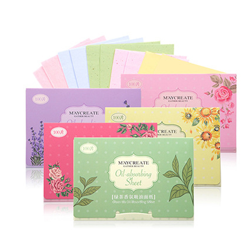 100Pcs Face Absorbent Paper Oil Control Wipes Green Tea Absorbing Sheet Face Cleanser Oil Paper Face Blotting Matting Tissue