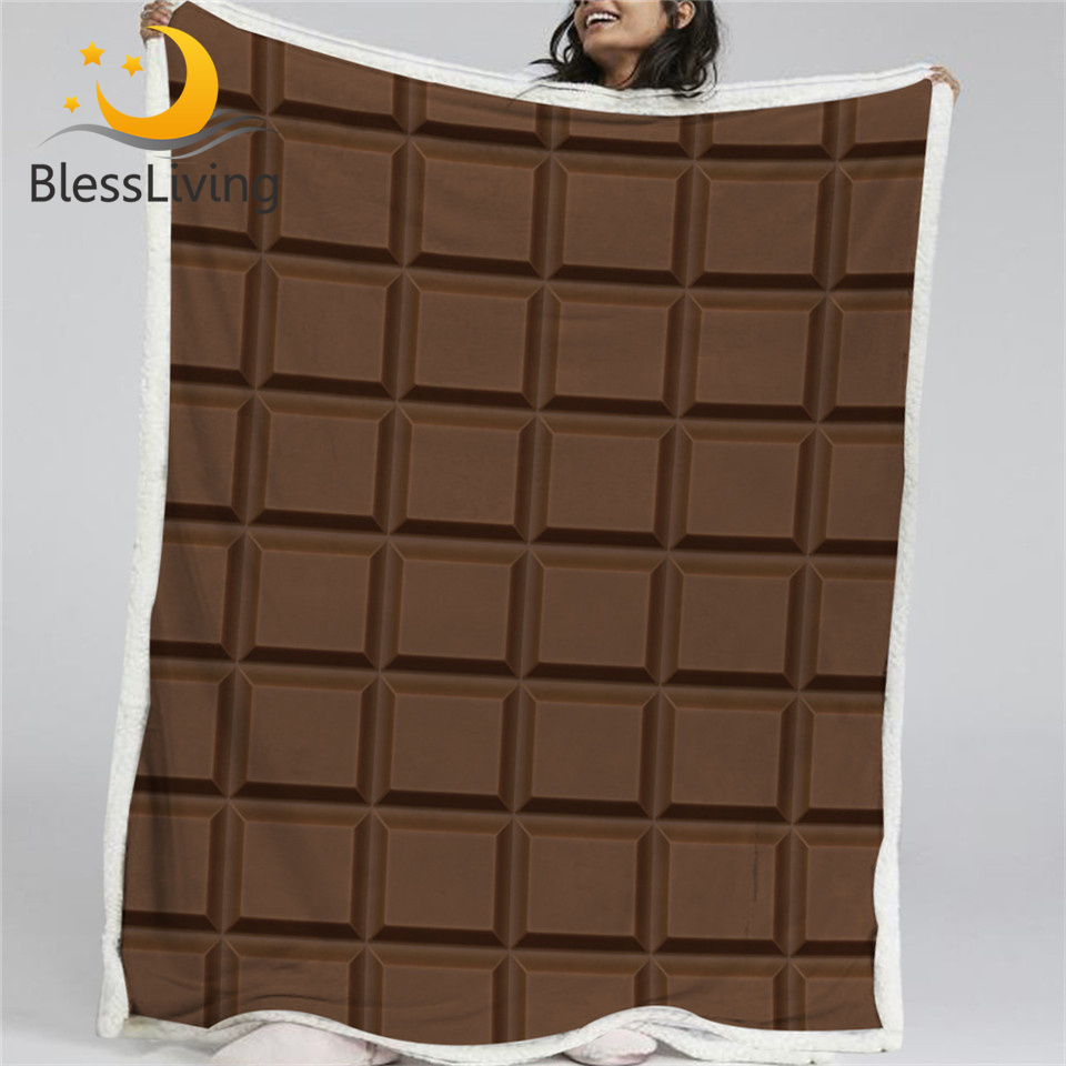 BlessLiving Chocolate Bar Blanket Soft Funny Sherpa Flannel Fleece Blanket Realistic Giant Chocolate Bed Couch Manta 150x200cm