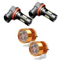 4 Pcs LED Lights : 2 Pcs 4 Led Headlight Dc 12V 85V Round Lights Motorcycle Locomotive Spotlight & 2 Pcs Led HB3 9005 Fog Light   -