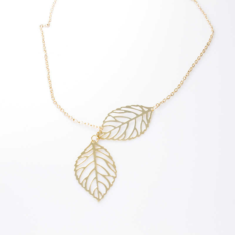 Livraison gratuite 2019 nouvelle mode Double couche feuilles pendentif collier coeur collier femmes vacances plage déclaration populaire bijoux