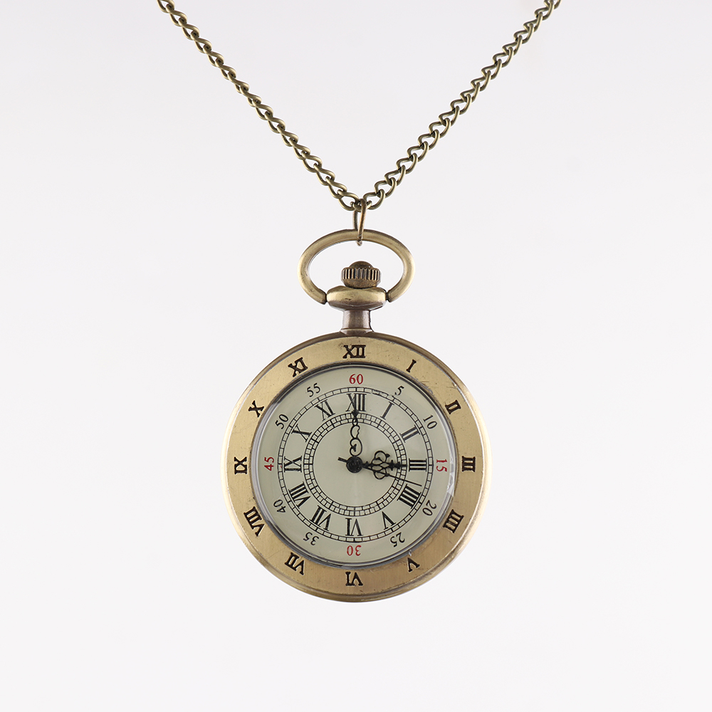 Unique Men Women Vintage Pocket Watch Roman Numerals Fob Watch Glass Dial Necklace Pendant Clock Time With Chain Character Watch