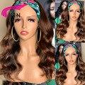 KRN коричневый Цвет волна парик с головной повязкой для парики из натуральных волос для Для Женщин Бразильские Remy бесклеевой парик с головно...