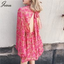 Joskaa Backless lace Up floral women Jumpsuit Flare sleeve print bodysuit sexy summer beach holiday playsuit