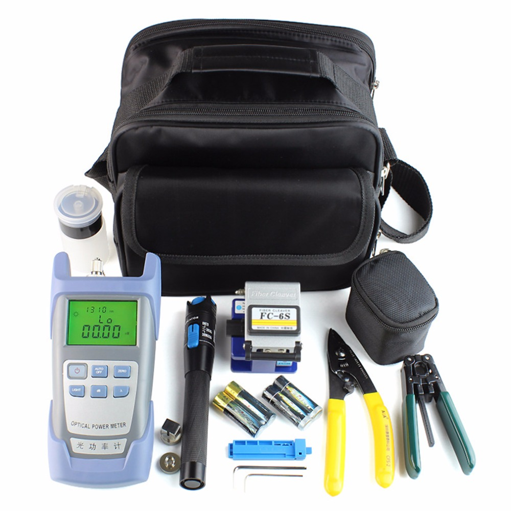 Fiber Optic FTTH Tool Kit With FC-6S Fiber Cleaver And Optical Power Meter 5km Visual Fault Locator Fiber Stripper