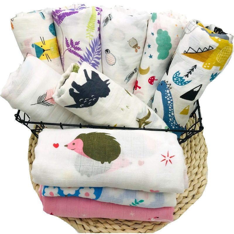 70% Bamboo Fiber Muslin Baby Blanket Swaddle Wrap For Newborn Very Soft Babies Blankets Multi-use Big Diaper Blankets Infant