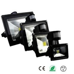 Светодиодный прожектор 50 Вт с датчиком движения, водонепроницаемый, 110 В/220 В, прожектор с ИК-датчиком светильник, прожекторная лампа, уличны...