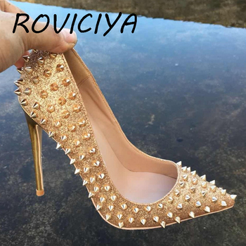 Glitter 12cm high heels shoes designer rivets shoes woman classicl pumps pointde toe party wedding silver gold MD017 ROVICIYA