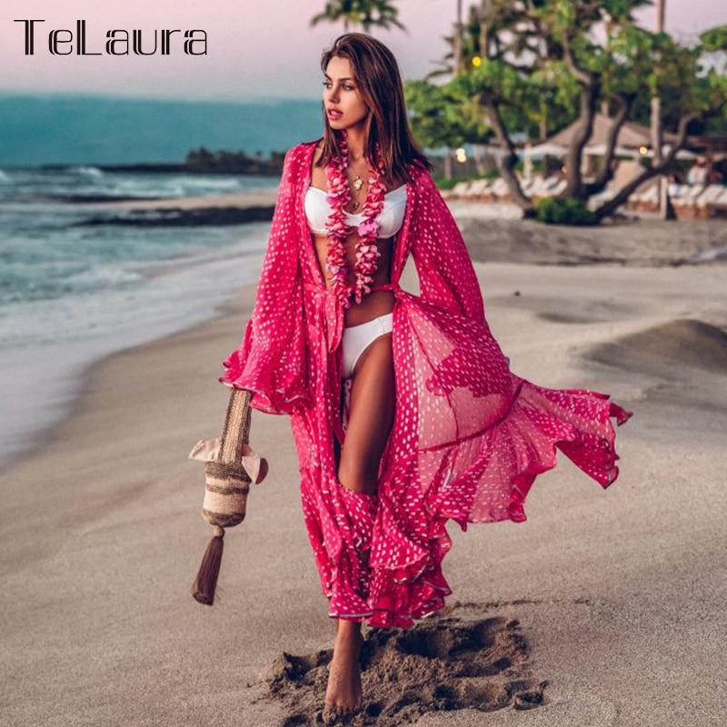 Bikini Cover-Up Beach-Wear Swimsuit Boho-Dress Summer New Dot Loose Female