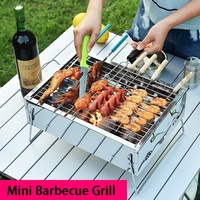 Portable Mini Barbecue Charcoal Grill Stainless Steel Folding BBQ Stove Kebab Roasting Rack For 3 People Outdoor Camping Picnic