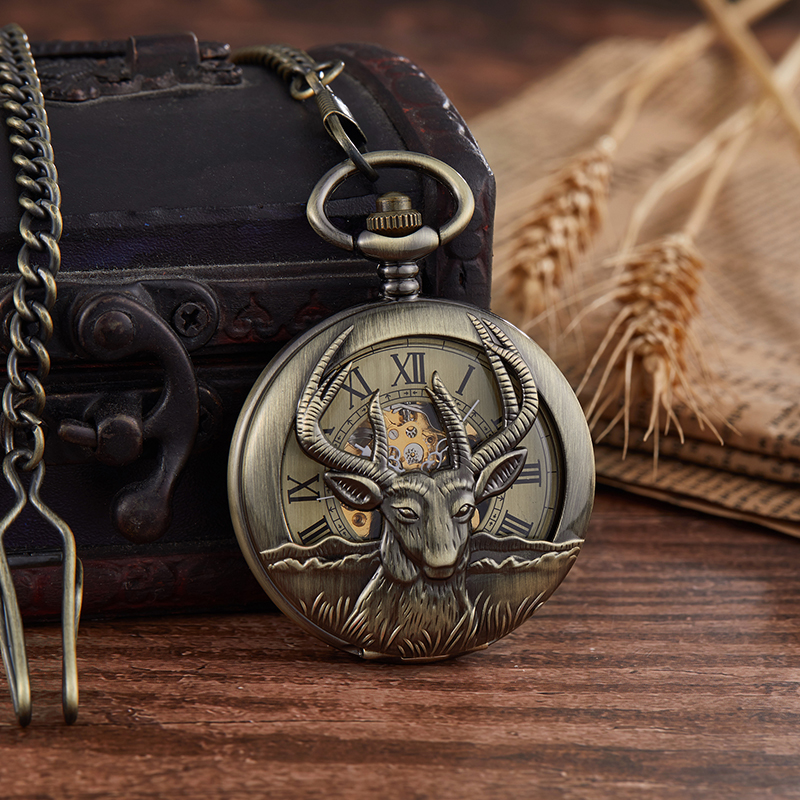 Retro Bronze Silver Goat Design Mechanical Pocket Watch Hand-winding Steampunk Chain Watch Male Fob Clock Men Ladies