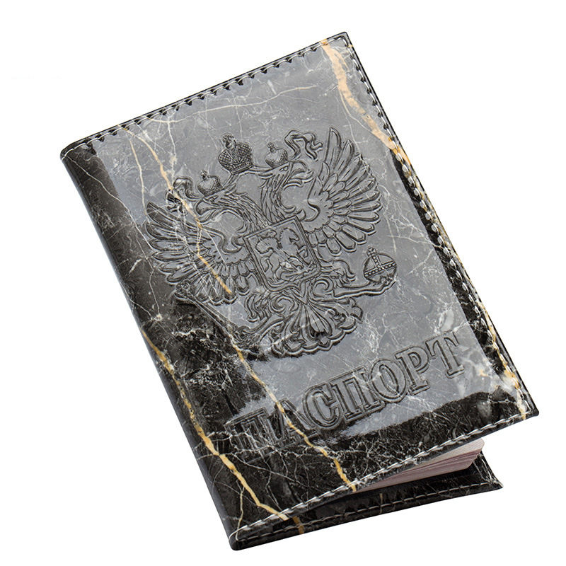 Zoukane Russian National Emblem Embossed Marble Stone Cracks Leather Passport Cover Case Ticket ID Holder Passport Wallet ZSPC52