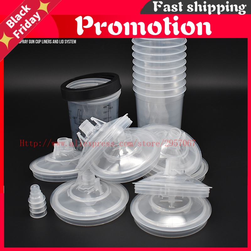 10pcs No cleaning Cups Paint Mixing Cup 160cc 400cc 600cc 800cc Spray Gun PPS Tank,Type H/O Quick Cup,  Paint Cup Adapter Pot