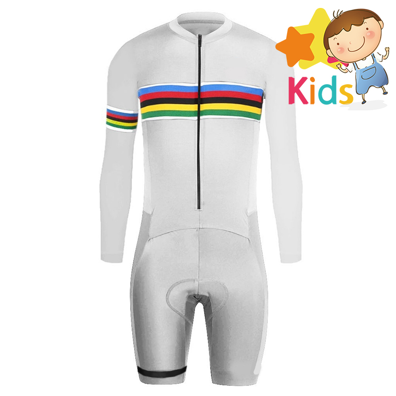 Triathlon for Kids Pro Speedsuit Childrens Cycling Skinsuit Long Sleeve Trisuit Racing Maillot Ciclismo Clothing