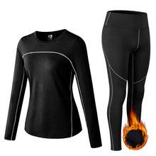 2 Pcs Fleece Sportswear Sport Anzüge Herbst Winter Thermische Yoga Set Frauen Daumen Loch Crop Tops Workout Fitness Kleidung