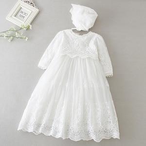 Детские вечерние платья с длинными рукавами для маленьких девочек платья для новорожденных девочек на крещение, одежда для маленьких девоч...