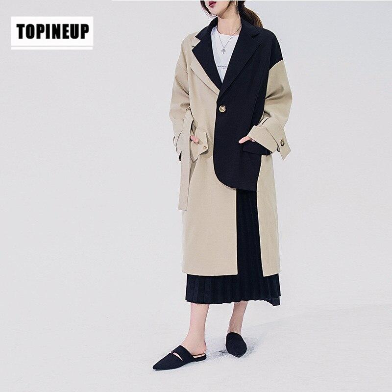 Women Irregular Patchwork Blazer Style Trench Coat 2020 New Mid-long Khaki Slim Belt Cloak Mujer Windbreaker