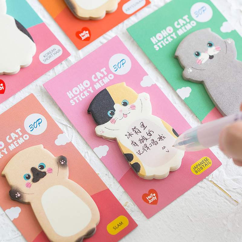 8 pçs gato dos desenhos animados pegajoso memorando agenda almofada marcador nota planejador adesivos bonito papelaria diário escritório escola estudantes suprimentos h6044