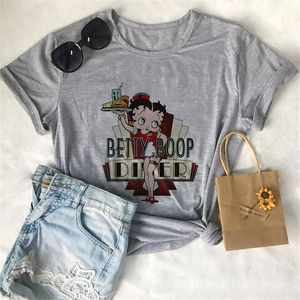 Fashion 2020 Women's T-shirts Summer Casual Harajuku Betty BOOP Tshirt Vintage Aesthetic Print Tops Gray Vogue Women's Shirts