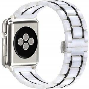 Image 1 - יוקרה קרמיקה צמיד עבור אפל שעון להקת 44 40mm נירוסטה רצועת עבור iwatch 5/4/3/2/1 צפו אבזרים 38 42mm