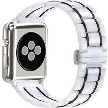 Bracelet de luxe en céramique pour Apple Watch, en acier inoxydable, 44 40mm, pour iwatch 5/4/3/2/1, accessoires pour montre intelligente 38 42mm