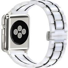 Pulsera de cerámica de lujo para Apple Watch, correa de acero inoxidable de 44 y 40mm para iwatch 5/4/3/2/1, accesorios para reloj inteligente de 38 y 42mm