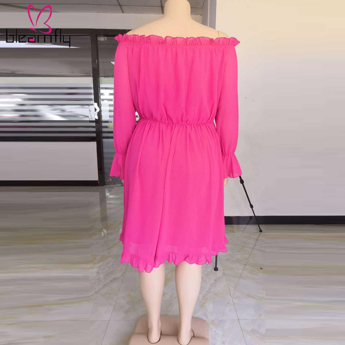 Falbany łączone Sexy Vestidos Plus rozmiar XL-5XL jesień kobiety drapowana Mini sukienka z długim rękawem Off Shoulder Night Club sukienek