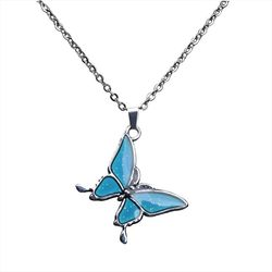 Butterfly Color Change With Temperature Necklace Butterfly Magic Emotion Feeling Mood Pendant Necklace Jewelry