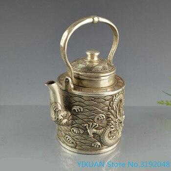 Accesorios de decoración del hogar: hervidor de vino de cobre blanco, hervidor portátil, tetera de dragón simple, hervido