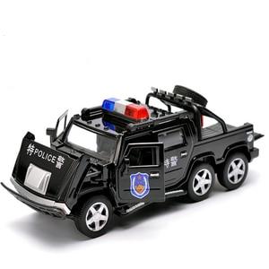 Image 4 - 1:32 6 륜 험머 합금 경찰 오프로드 모델 장난감 자동차 사운드 라이트 당겨 전차 완구 어린이를위한 자동차
