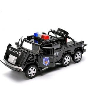 Image 4 - 1:32 ست عجلات هامر سبيكة الشرطة على الطرق الوعرة لعبة مجسمة سيارات ضوء الصوت التراجع عربة لعب سيارة للأطفال