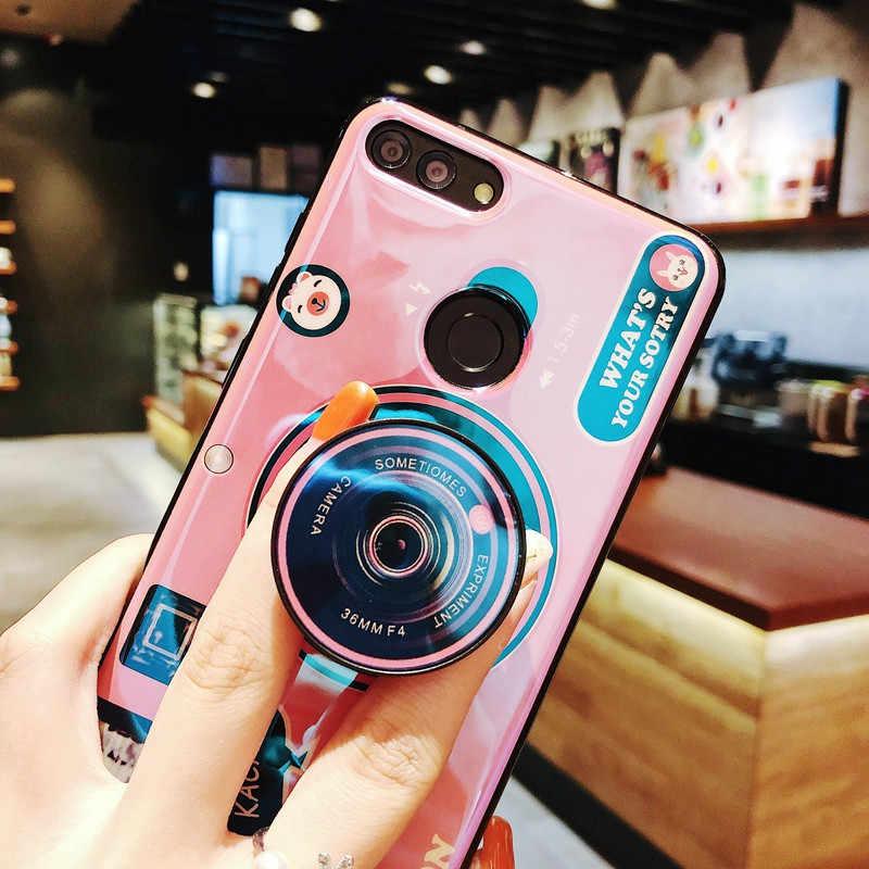 Huawei 社 Y6 Y7 プライム 2018 ケースブルーレイカメラスタンドホルダーシリコーンカバー Huawei 社の名誉 9Xpro Y5 2017 Y9 Psmart 2019 Coque
