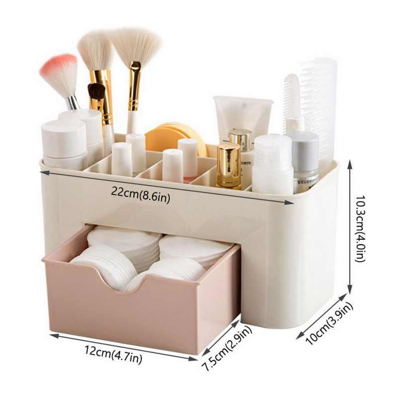 Acrylic Makeup Kotak Penyelenggara Kapasitas Besar Perhiasan Penyimpanan Kosmetik Kotak dengan Laci Plastik Lipstik Holder Serba-serbi Wadah