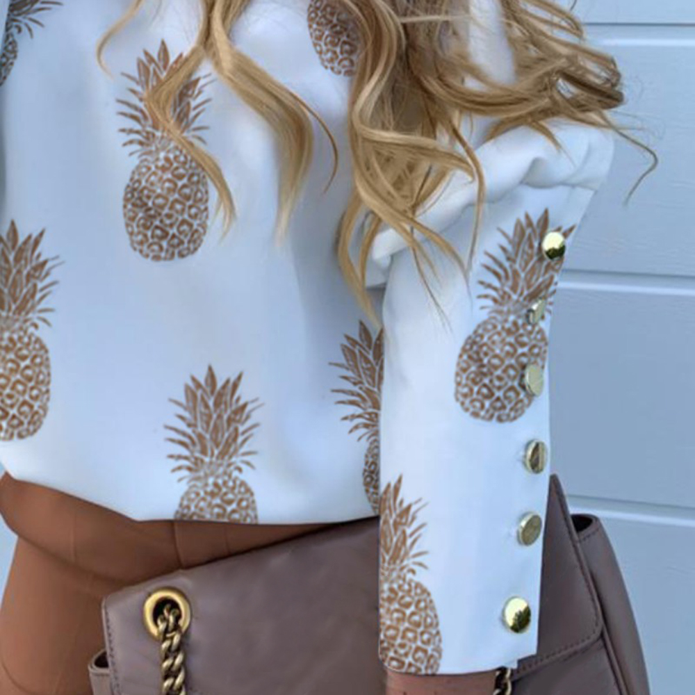 H9c96fbfffbf84ad18b5474aeba598936R - JODIMITTY Puff Shoulder Blouse Shirts Office Lady New Autumn Metal Buttoned Detail Blouses Women Pineapple Print Long Sleeve Top