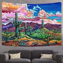 Tapices de pared coloridos y psicodélicos, papel pintado con paisaje de Cactus, planta de playa, Mandala, bohemio, envío directo