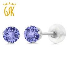 GemStoneKing 0,60 карат 4 мм Круглый Натуральный Синий танзанит 10 к белое золото 4-Зубец серьги гвоздики для женщин Свадебные ювелирные изделия