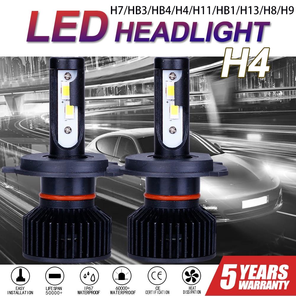 CarTnT 2 шт. автомобиль лампы для передних фар H7 светодиодный H9 HB3 9005 HB4 9006 H11 H4 H8 9004 HB1 H13 светодиодный фар Canbus 100 Вт 30000LM 6500K 12V